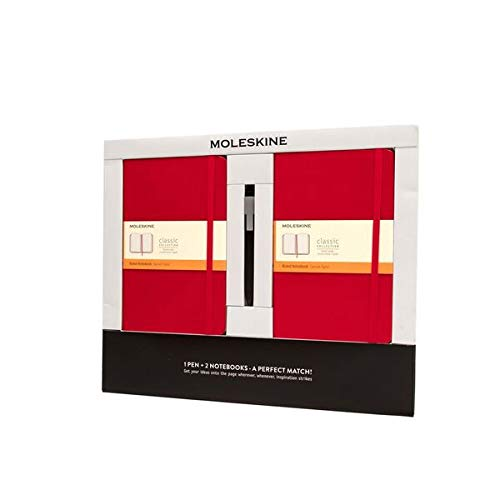 Moleskine 2 Notebooks Large Rule + Pen Red Bundle