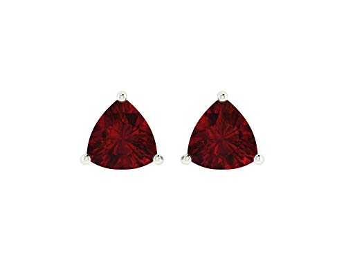 - Euforia Jewels 14K White Gold Top Quality Natural Garnet 4x4 Trillion Cut Stud Earrings With Silver Sillicon Post