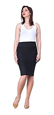 OrlyCollection Womens Elegant Open Slit Stretchy Pencil Skirt for Office Wear Proudly Made in USA