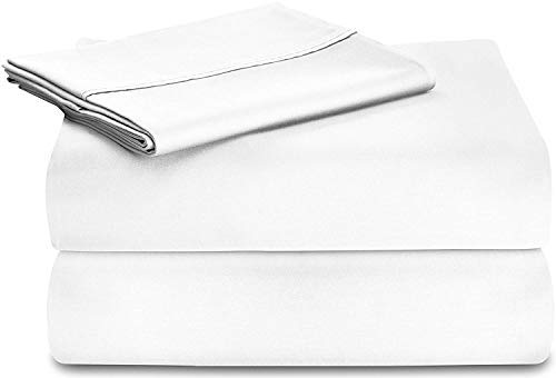 lain Long Stapled Satin Premium 100% Cotton 4-Piece Bed Sheet Set (King, White) - Flat Sheet, Fitted Sheet and 2 Pillow Cases ()
