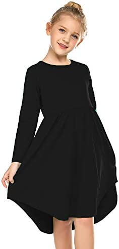 Girl S Summer Casual Dress Long Sleeve Cotton Swing Skater Twirly T Shirt Dress Amazon Com Au Fashion