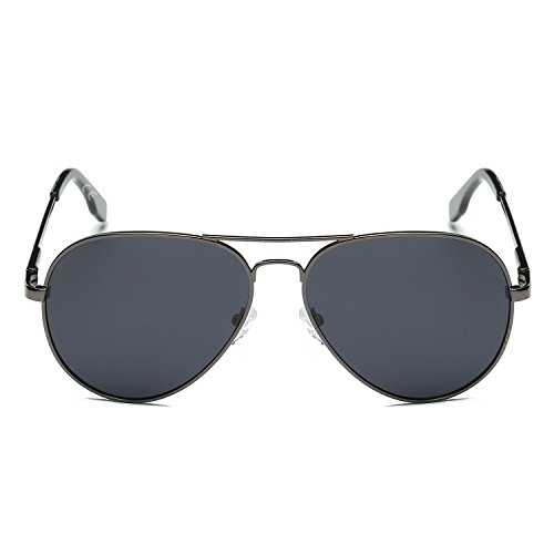 polarizadas Gafas revo de Gris marco amztm doble aviador de sol lentes puente Gris espejo Metal R0qRfwx1A