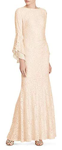 LAUREN RALPH LAUREN Womens Sequin Lace Gown Color Champagne Size 6