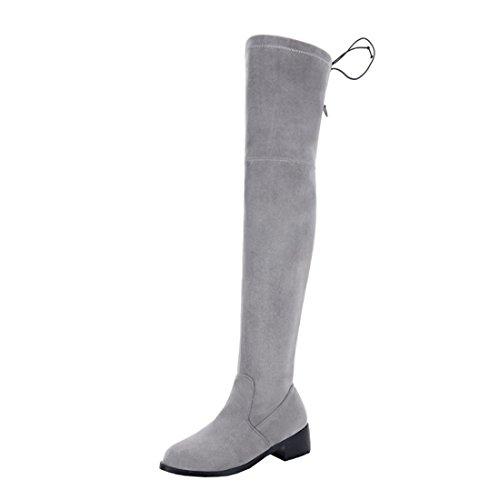 Rond Basse Scratch De Suede Chaussures Confortables Bout Bottines Fourrure Gris À Pour L'hiver Plates Avec Femmes mollet Talons Mi Uh 6Y1qZWOw1