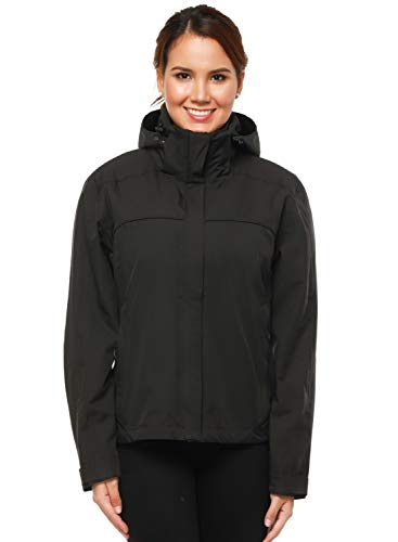 MIERSPORTS Women's Lightweight Rain Jacket Front-Zip Waterproof Raincoat with Removable Hood, Windbreaker for Hiking, Black, S