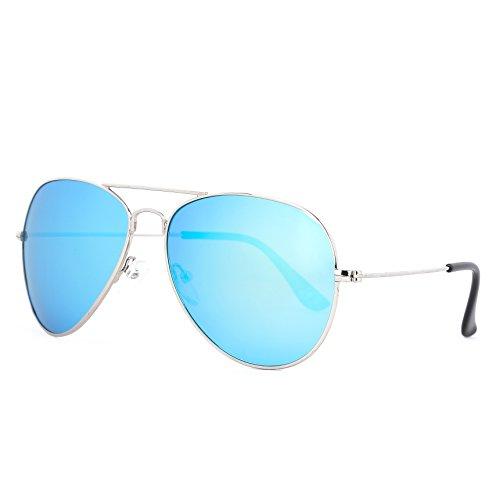 ROLF ROSSINI Aviator Polarized Sunglasses for Mom (Silver, Blue - Light Blue Polarized
