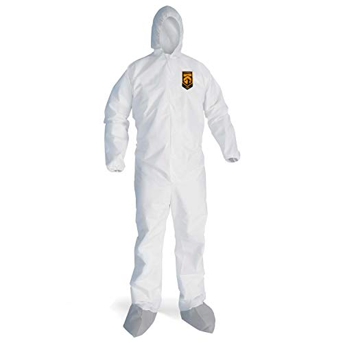 Kleenguard 48963 Breathable Splash Particle Protection Coveralls L, White (Pack of 25)