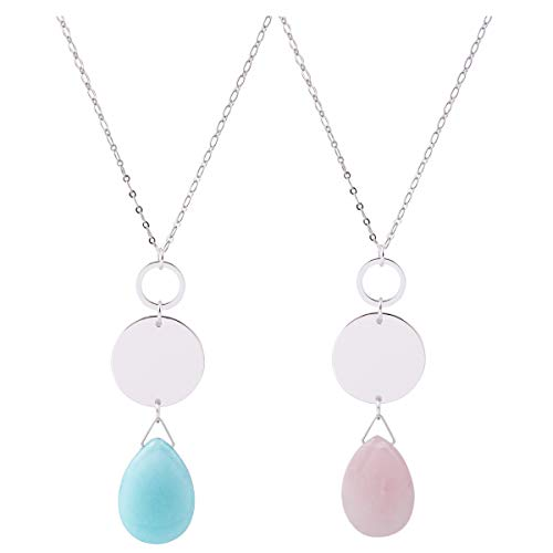 CONCISE ROYAL Long Pendant Necklace for Women Plated Silver Gold Long Chain Necklaces Natural Spiritual Healing Crystal Stone Pendant Necklace,32+3 Inch (Light Blue and Pink) ()