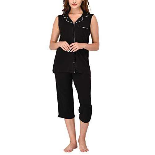 Women's Sleepwear 2 Pc Sleeveless Notch Collar Button Down Top & Capri Set/Pj Set/Pajama Pant Set (Black, XL)