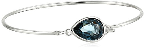Fine Silver Plated Bronze Blue Teardrop Wire Bangle Bracelet Made with Swarovski Crystal (12mm, ()