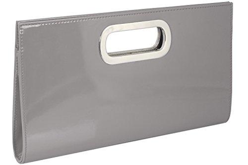 Emmy-Shop - Cartera de mano de material sintético para mujer, color Violeta, talla One Size Plata - plateado
