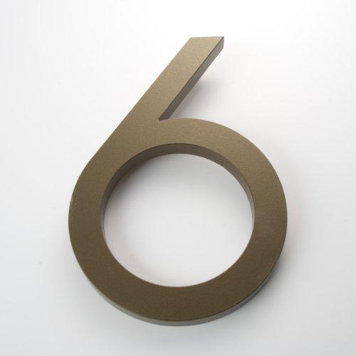 "Modern House Number Bronze Color Aluminum Modern Font Number Six ""6"" 6 inch"