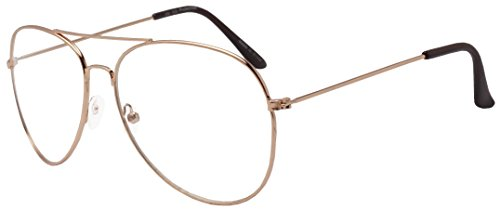 f546a22247c SunglassUP Oversize Round Double Bar Clear Lens Metal Aviator ...