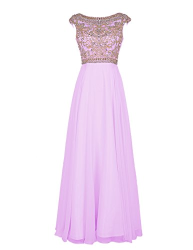 Bbonlinedress Elegant Floor Length Bridesmaid Cap Sleeve Prom Evening Dresses Lavender 8 (Evening Dress 2011)