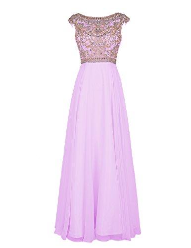 Bbonlinedress Elegant Floor Length Bridesmaid Cap Sleeve Prom Evening Dresses Lavender 8 (2011 Dress Evening)