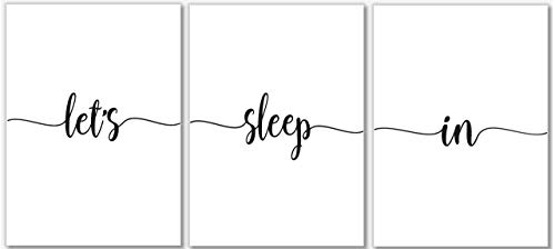 Let's Sleep In Art Prints - Bedroom Wall Decor - Set of 3-8x10 - Unframed