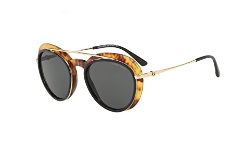 Giorgio Armani AR6055F - 302187 Sunglasses Gold/Black / Amber w/Grey Lens 54mm