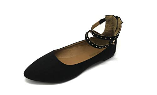 Susan 18 Studded Strap Ballet Flats for Women; Strappy Flats