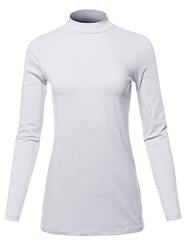 Solid Mock Neck Top - Basic Solid Soft Cotton Long Sleeve Mock Neck Top Shirts Off White M