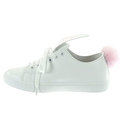 Talon Mode 5 Tennis Pom Femme Fantaisie Plat Baskets pom Angkorly Cm 2 Chaussure Blanc 5qBg8
