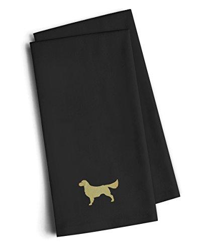 Caroline's Treasures BB3404BKTWE Golden Retriever Black Embroidered Kitchen Towel (Set of 2), 28