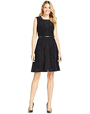 Calvin Klein Faux-Suede Moto Dress Black 6