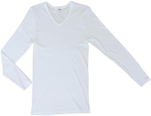 HERMKO 164680 2er Pack Herren Langarm Shirt mit V-Ausschnitt aus Baumwolle//Modal
