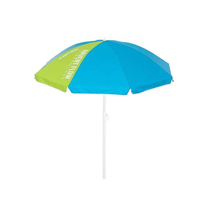 319E CQDo7L Sombrilla playa inclinable de Ø 180 cm, con la cubierta de nylon lisa en color azul, con una porción verde. La sombrilla de playa azul lleva tratamiento con protección anti UPF +50, para absorber los dañinos rayos ultravioletas, ayudándote a protegerte de los molestos rayos solares. Una sombrilla playera circular, con un pequeño faldón decorativo y el contorno reforzado con un ribete blanco.
