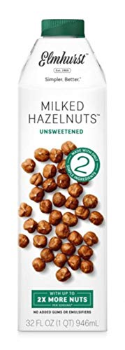 Elmhurst Milked - Unsweetened Hazelnut Milk - 32 Fluid Ounces (Pack of 6) Only 2 Ingredients, 4X the Protein, Non Dairy, Keto Friendly, No Added Sugar, Vegan