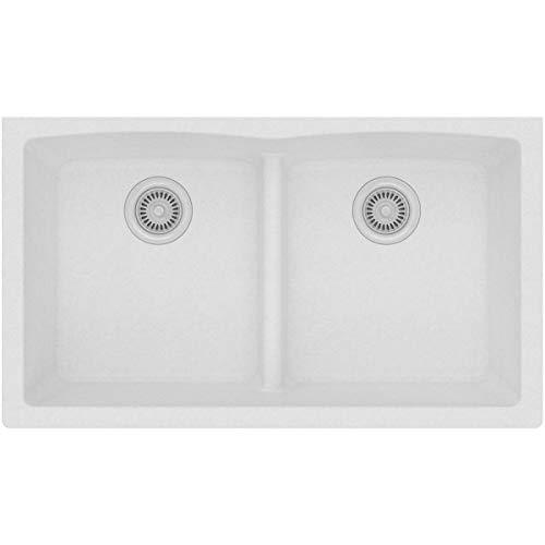 Quartz Classic ELGDULB3322WH0 White Equal Double Bowl Undermount Sink