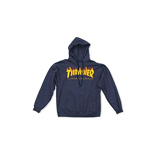 (Thrasher Men's Flame Logo Hoodie,Navy Blue,Small)