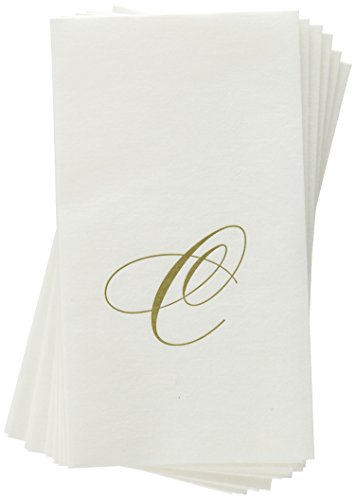 (Entertaining with Caspari White Pearl Paper Linen Guest Towels, Monogram Initial C, Pack of 24)