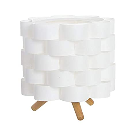 DCASA Lámpara para Mesita de Noche Pantalla Blanca Estilo Nórdico de Madera Natural Blanco (21x19cm) (287019)