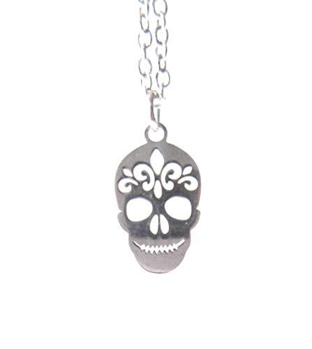 (Stainless Steel Skull Necklace Fleur de Lis)