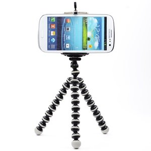 Case Star Black & White Octopus Style Portable and adjustable Tripod Stand with Mount / Holder for iPhone, Cellphone 4/4S/5 ,Camera with Case Star Velvet Bag