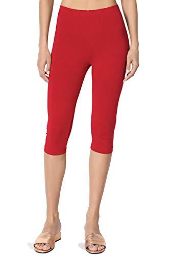 TheMogan Women's Basic Cotton Spandex Below Knee Length Leggings Dark Red M
