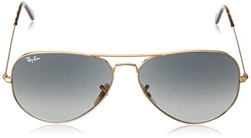 Hombre Gafas sol de Large para Dorado Ray Metal Gradient Ban Aviator Grey wnqfR8TS
