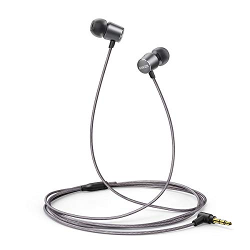 Anker SoundBuds Verve Wired Headphones, 10 mm Composite Drivers and Powerful Bass, in-Ear Stereo Earphones with Durable Cable Over 15,000 Bends and Carry Pouch (Gray)