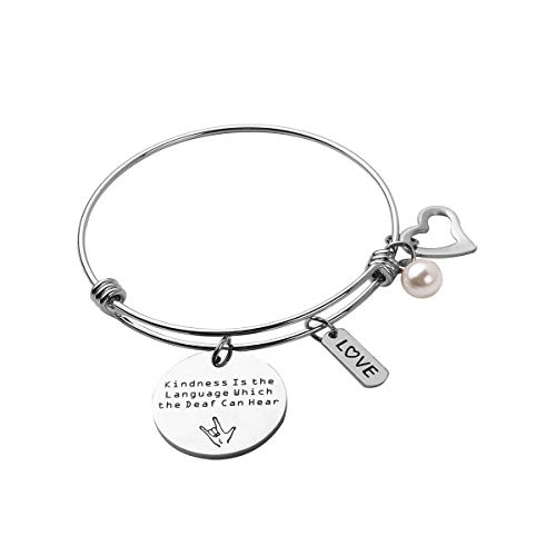 RUNXINTD ASL Jewelry American Sign Language Teacher Gift Kindness is The Language Which The Deaf Can Hear Hand Stamped Bracelet,Keychain (Silver-Bracelet)