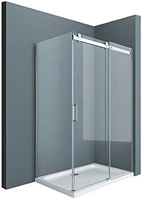 Sogood: Cabina de ducha diseño Ravenna17, 90x125x195cm, mampara de vidrio de seguridad transparente, con puerta corredera y revestimiento en ambos lados: Amazon.es: Bricolaje y herramientas