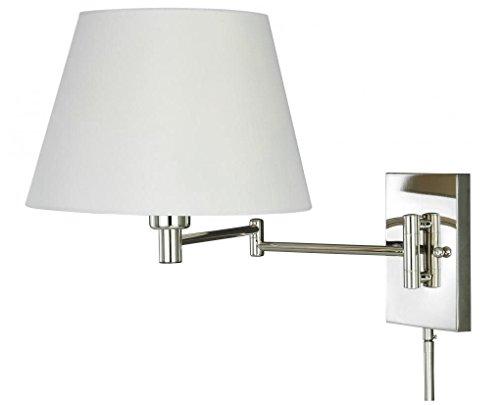 Vaxcel W0200 Chapeau Smart Lighting Swing Arm Wall Light, Polished Nickel Finish