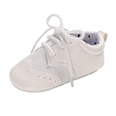 NUWFOR Infant Newborn Baby Girls Boy Frenulum Prewalker Non-Slip Soft Sole Gym Shoes White