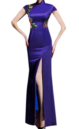 Out Premium Coolred Women Cheongsam Slim Split Traditional Dress Purple Hollow HwqPXqEa