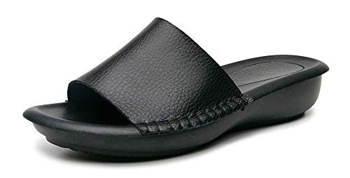 Yooeen Women's Leather Slides Comfort Slippers Slip on Low Wedge Summer Sandals Indoor Outdoor Mules Black