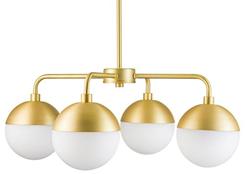 Novara 4 Light Modern Chandelier - Satin Brass w/Frosted Glass - Linea di Liara LL-CH16-3SB