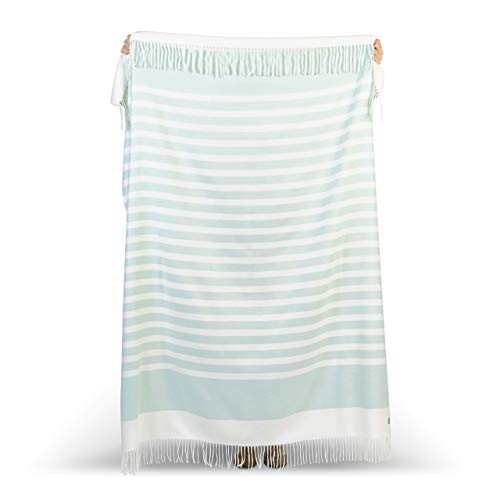 GOOD MANORS Stripe Throw Blanket with Fringe, Modern Horizontal Pattern, Lightweight 20 oz, Woven Soft Breathable Stylish, 50 x 60 in. (Light Turquoise)