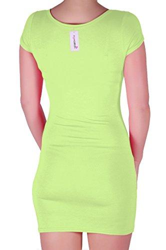 stretch courte Robe Vert V col Femme Annalise Citron EyeCatch moulante pgvxHO