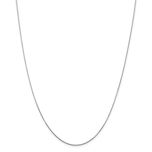 16' Diamond Cut Cable Chain (Roy Rose Jewelry 14K White Gold .80mm Diamond-cut Cable Chain Necklace ~ Length 16'' inches)