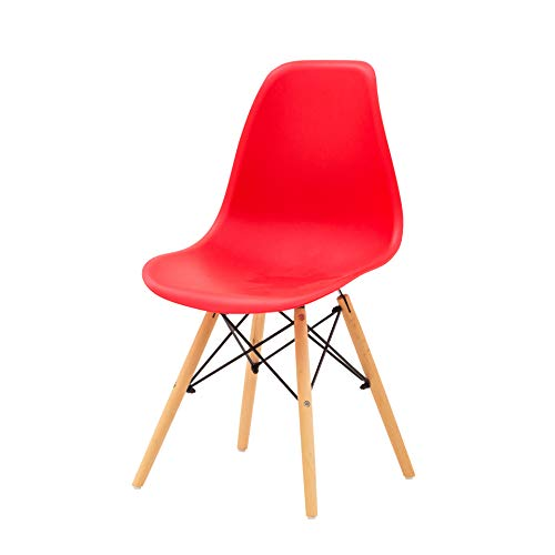 Italian Concept Set, Lacquered Wood/Metal/Polypropylene Chair, Red, One Size
