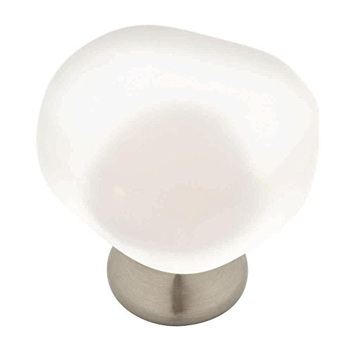 Liberty 1-1/2 in. Satin Nickel and Frosted White Sea Glass Cabinet Knob